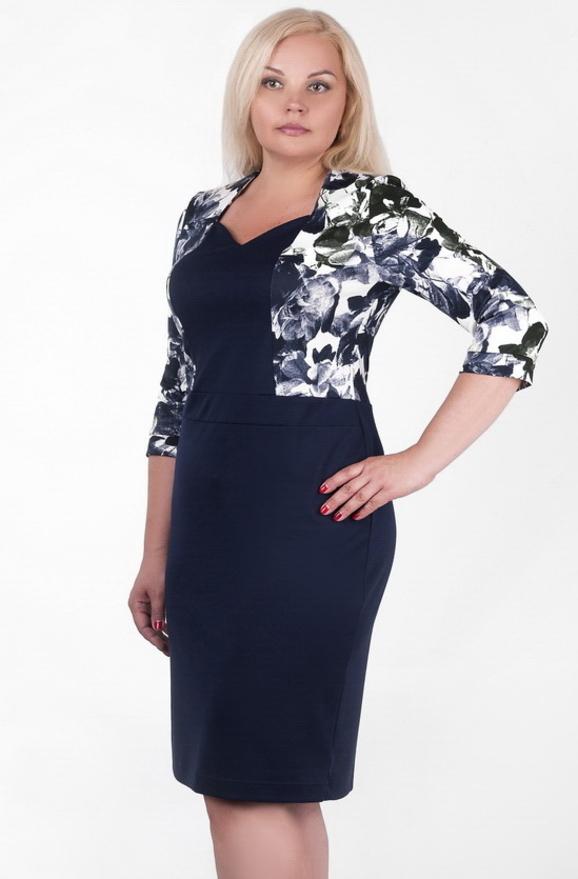Платье футляр синего с белым цвета 2342.41|интернет-магазин vvlen.com