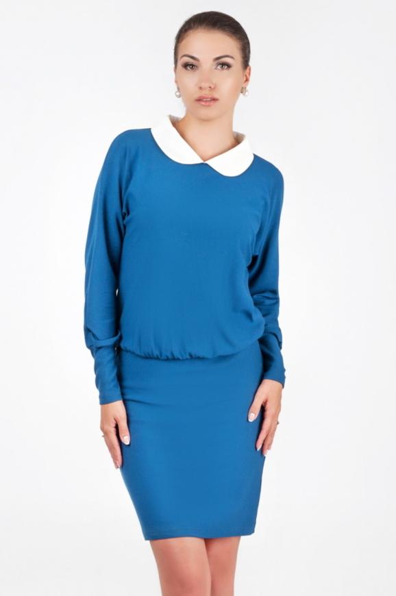 Офисное платье футляр синего в горох цвета 1917.14|интернет-магазин vvlen.com