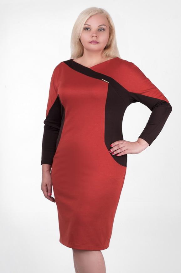 Платье футляр оранжевого с коричневым цвета 2339.56 интернет-магазин vvlen.com