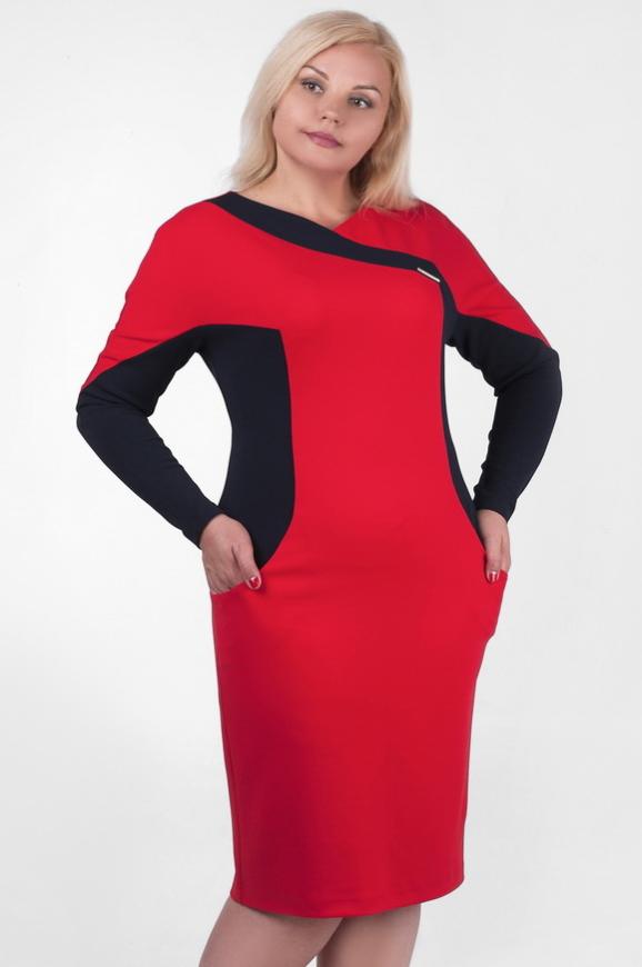 Платье футляр красного с синим цвета |интернет-магазин vvlen.com