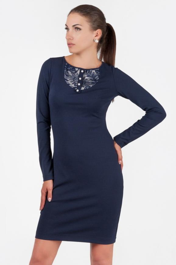 Офисное платье футляр синего в горох цвета 1147.85|интернет-магазин vvlen.com
