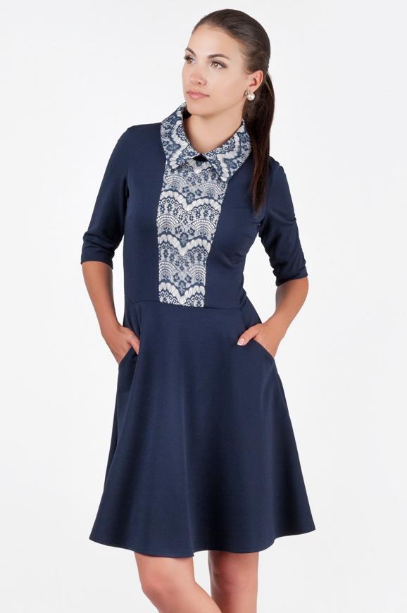 Офисное платье с расклешённой юбкой синего в горох цвета 1803.85|интернет-магазин vvlen.com