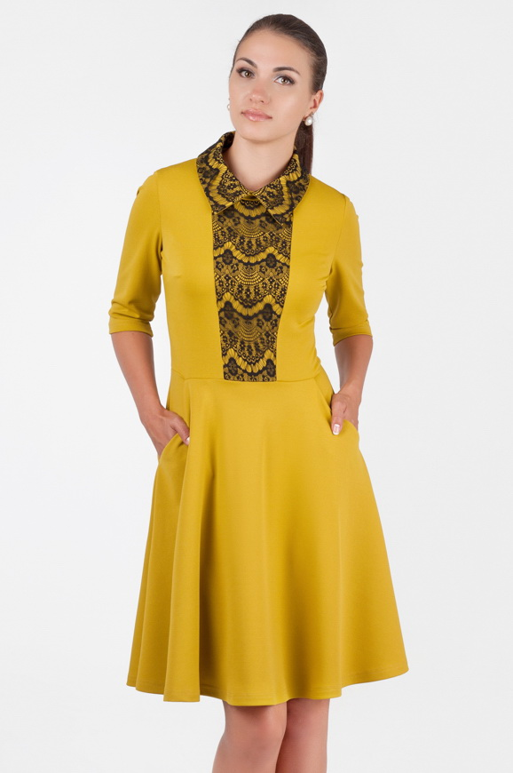 Офисное платье с расклешённой юбкой желтого цвета|интернет-магазин vvlen.com