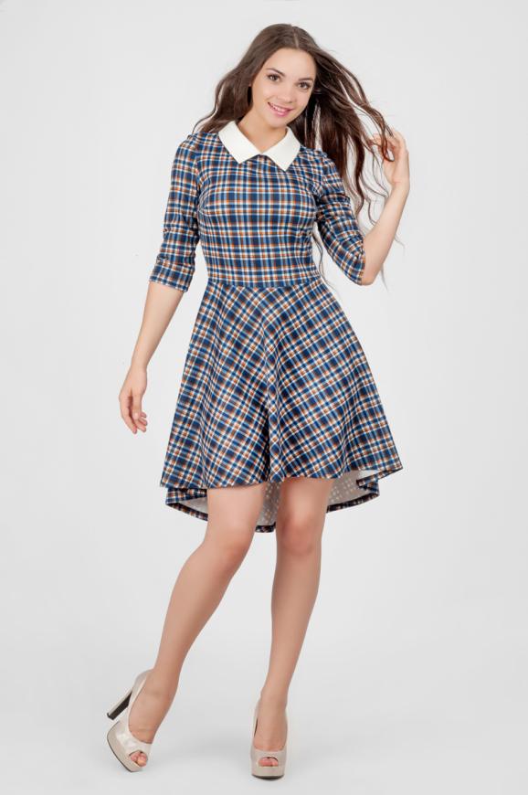 Повседневное платье с расклешённой юбкой синего с белым цвета|интернет-магазин vvlen.com