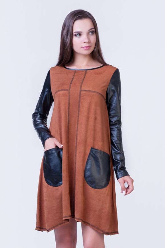 Повседневное платье футляр светло-коричневого цвета 2345.86|интернет-магазин vvlen.com