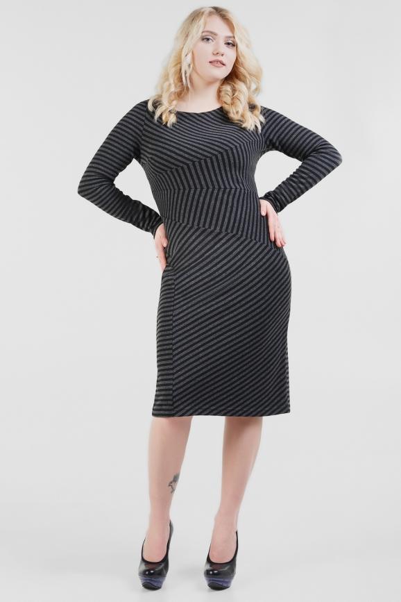 Платье футляр серого с черным цвета 1660.40|интернет-магазин vvlen.com