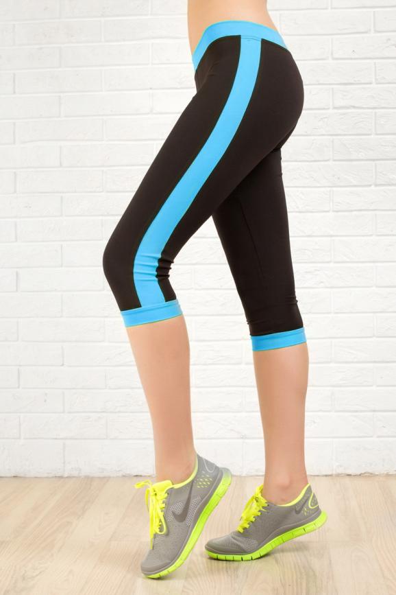 Бриджи для фитнеса черного с голубым цвета 2313.67|интернет-магазин vvlen.com