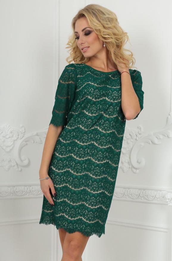 Коктейльное платье трапеция темно-зеленого цвета|интернет-магазин vvlen.com