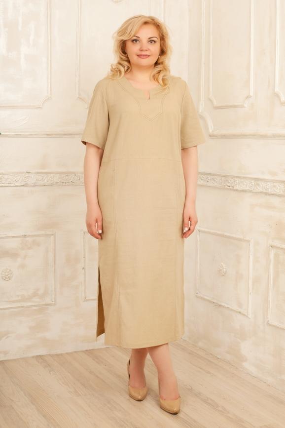 Летнее платье балахон бежевого цвета 2328.81|интернет-магазин vvlen.com