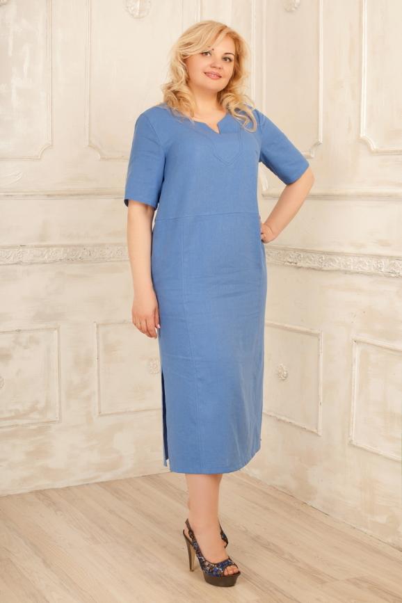 Платье  мешок голубого с белым цвета 2328.81 |интернет-магазин vvlen.com