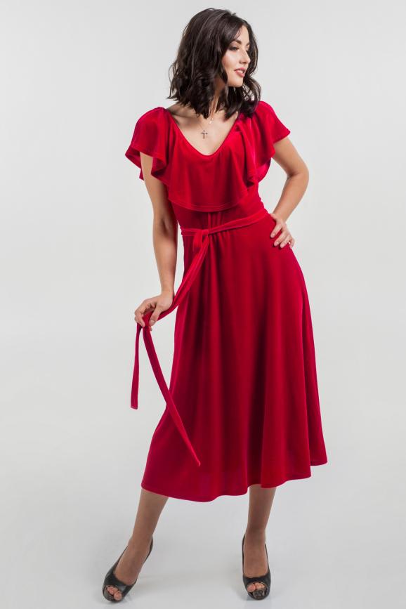 Вечернее платье с расклешённой юбкой красного цвета 2465.26|интернет-магазин vvlen.com