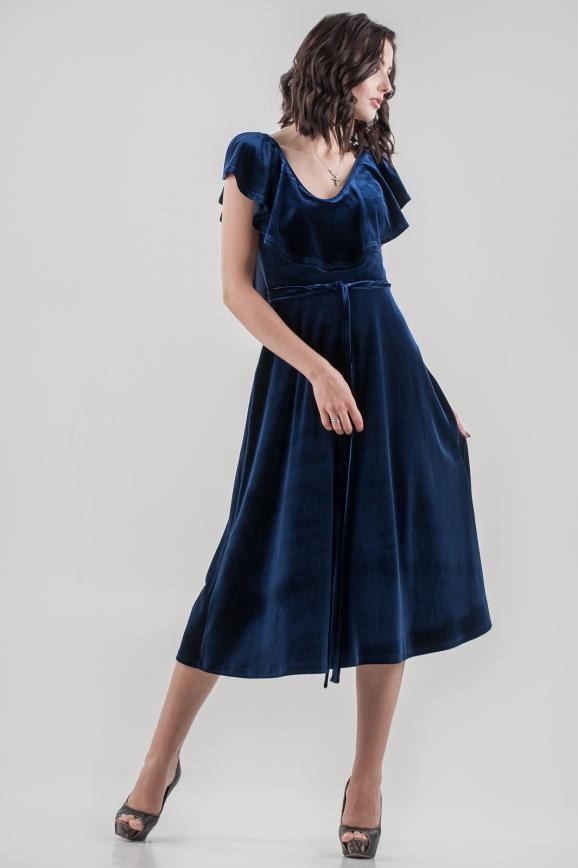 Вечернее платье с расклешённой юбкой синего цвета 2465.26|интернет-магазин vvlen.com