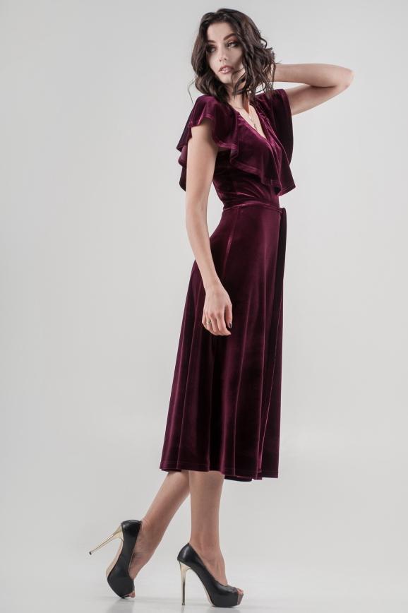Вечернее платье с расклешённой юбкой лилового цвета 2465.26|интернет-магазин vvlen.com