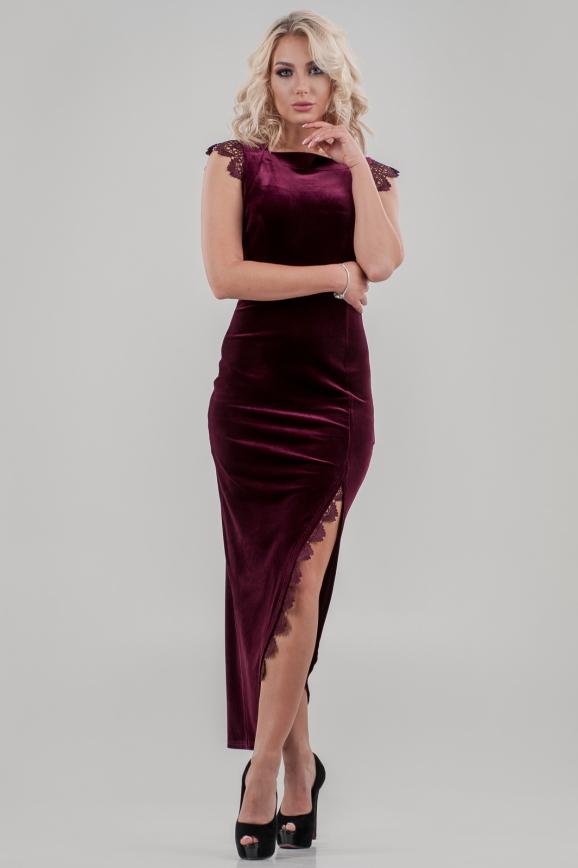 Вечернее платье футляр лилового цвета 2635-1.26|интернет-магазин vvlen.com