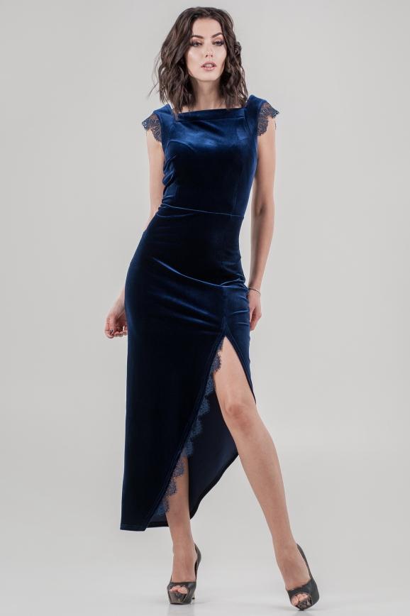 Вечернее платье футляр синего цвета|интернет-магазин vvlen.com