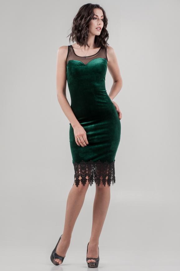 Коктейльное платье футляр салатового цвета 2641.26|интернет-магазин vvlen.com
