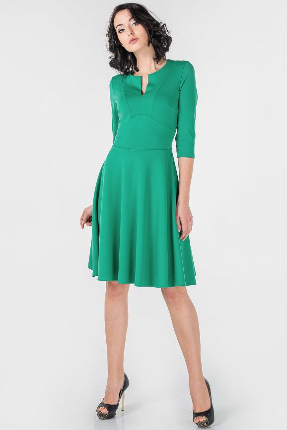 Повседневное платье с расклешённой юбкой зеленого цвета|интернет-магазин vvlen.com