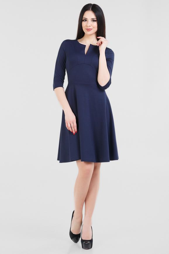 Повседневное платье с расклешённой юбкой темно-синего цвета|интернет-магазин vvlen.com