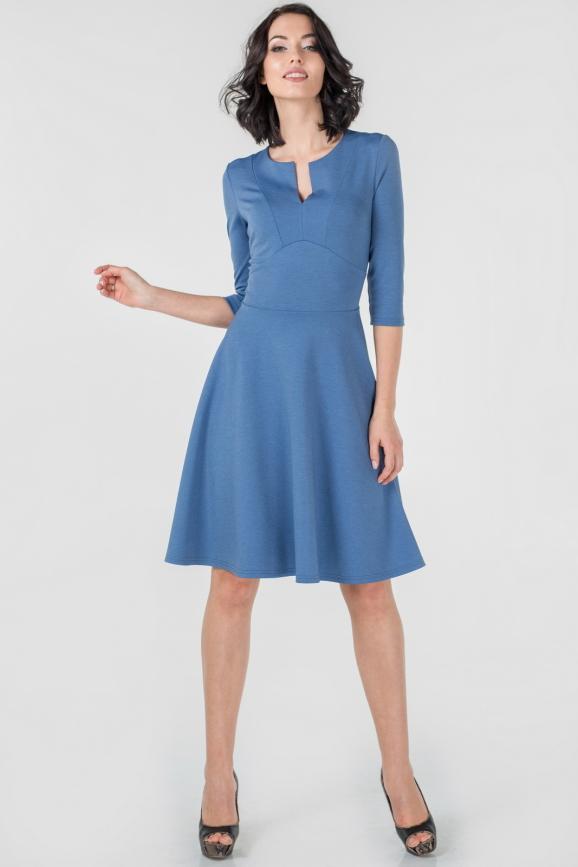 Повседневное платье с расклешённой юбкой джинса цвета 2661.47|интернет-магазин vvlen.com