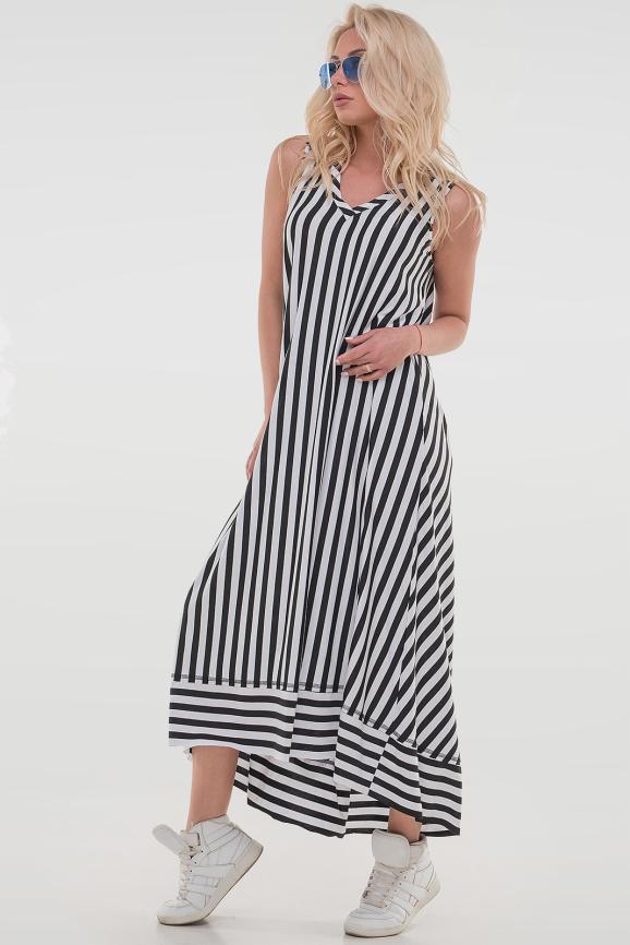 Летнее платье трапеция полоски черной цвета|интернет-магазин vvlen.com