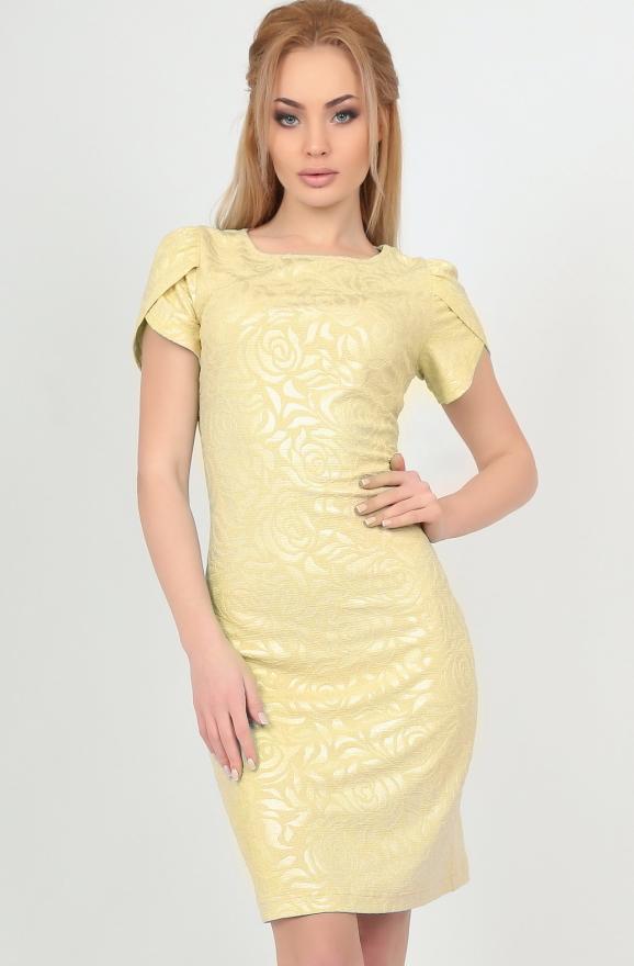 Летнее платье футляр желтого цвета|интернет-магазин vvlen.com