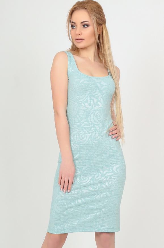 Летнее платье майка мятного цвета 2370-1.89|интернет-магазин vvlen.com