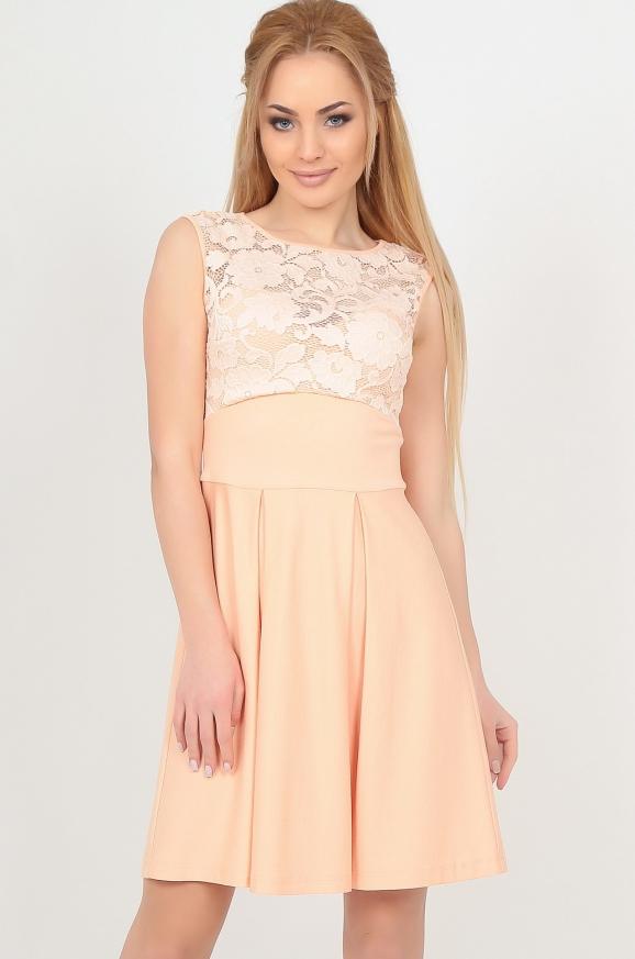 Коктейльное платье с расклешённой юбкой персикового цвета|интернет-магазин vvlen.com
