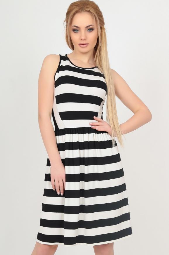 Летнее платье с пышной юбкой полоски черной цвета|интернет-магазин vvlen.com
