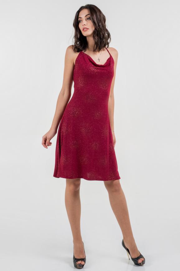 Коктейльное платье с расклешённой юбкой бордового цвета 1064.6|интернет-магазин vvlen.com