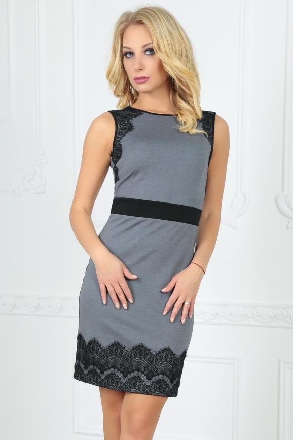 Коктейльное платье футляр серого с черным цвета 1852-1.47 интернет-магазин vvlen.com