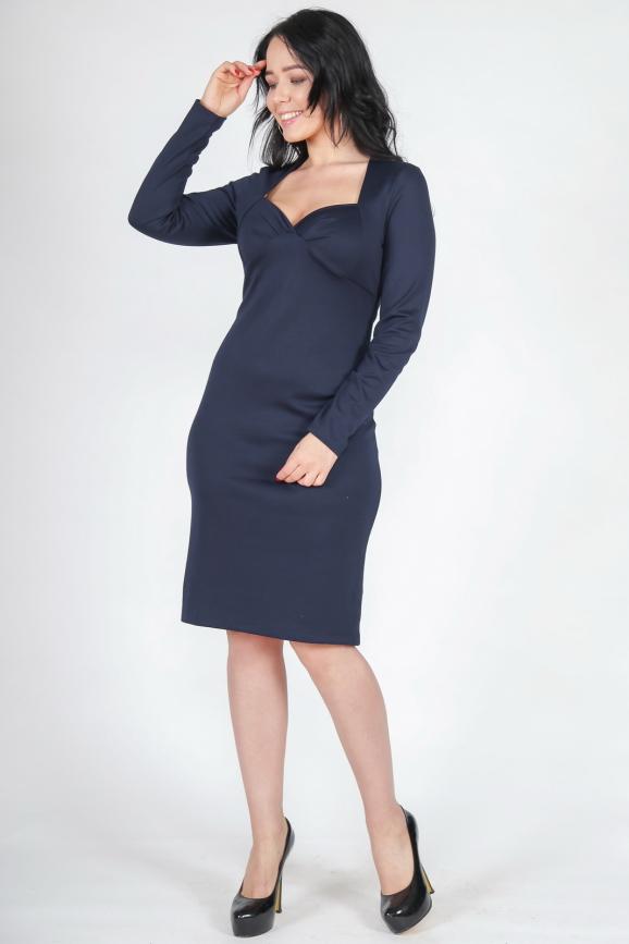 Платье футляр темно-синего цвета 1986.41|интернет-магазин vvlen.com