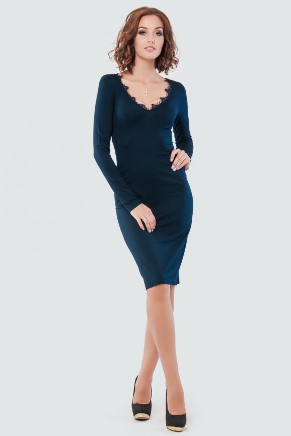 Коктейльное платье футляр синего цвета 1437.2|интернет-магазин vvlen.com