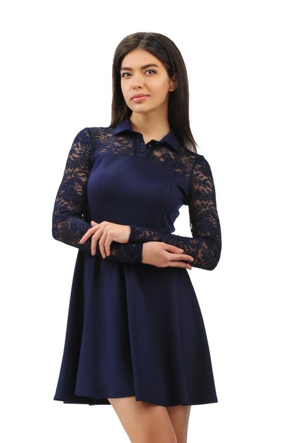 Офисное платье с расклешённой юбкой синего в горох цвета 2285.41|интернет-магазин vvlen.com