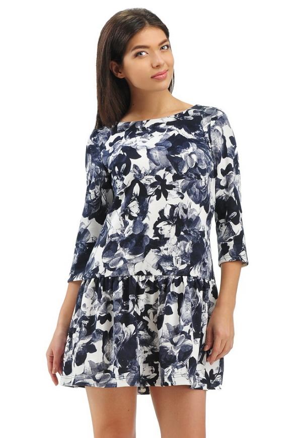 Повседневное платье с расклешённой юбкой синего с белым цвета интернет-магазин vvlen.com