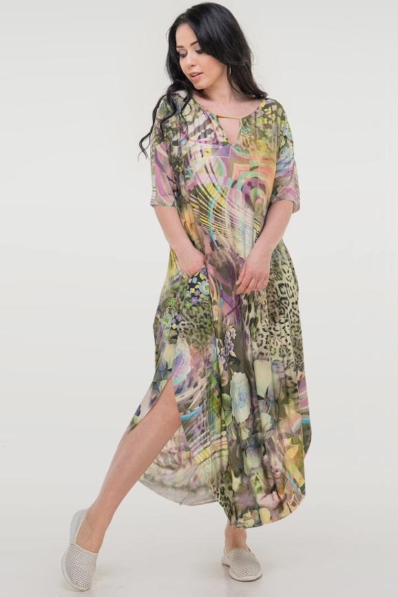 Летнее платье оверсайз зеленого тона цвета 2424-3.5|интернет-магазин vvlen.com