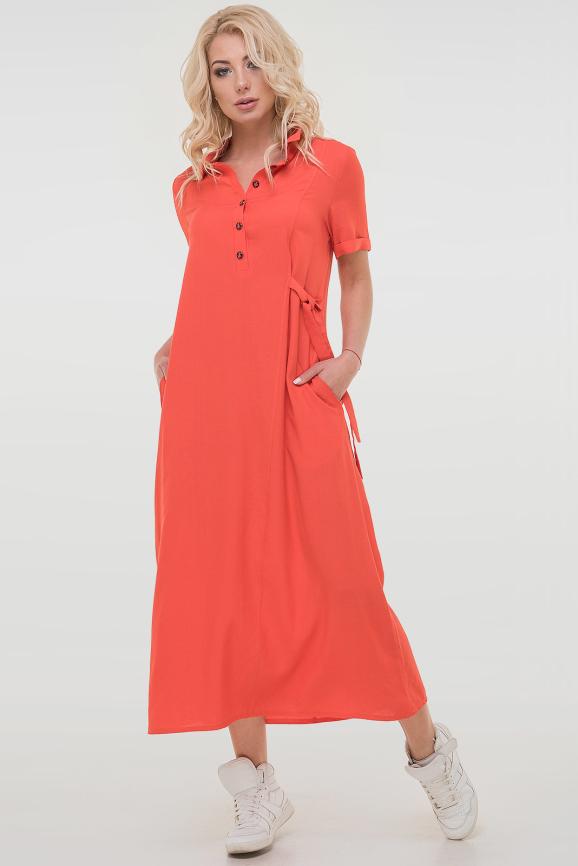 Летнее платье рубашка кораллового цвета 2797.115|интернет-магазин vvlen.com