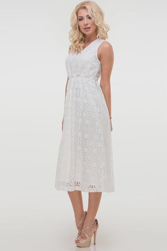 Летнее платье с пышной юбкой молочного цвета 2830.114|интернет-магазин vvlen.com