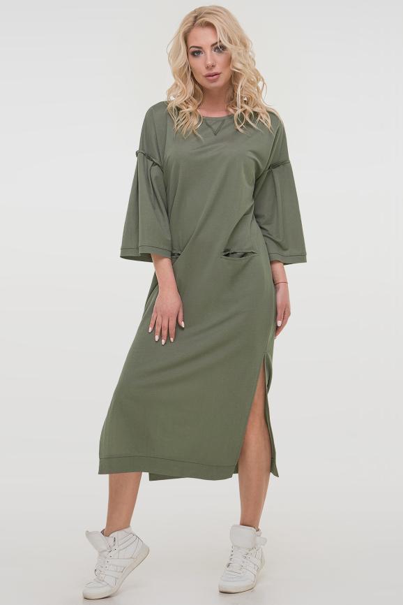 Спортивное платье  хаки цвета|интернет-магазин vvlen.com