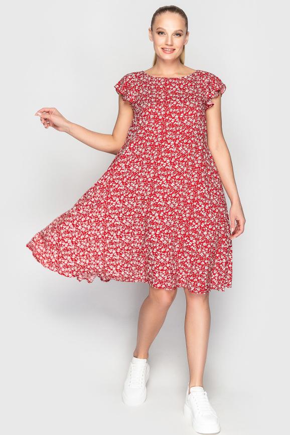 Летнее платье с расклешённой юбкой красного с белым цвета 2560.84 интернет-магазин vvlen.com