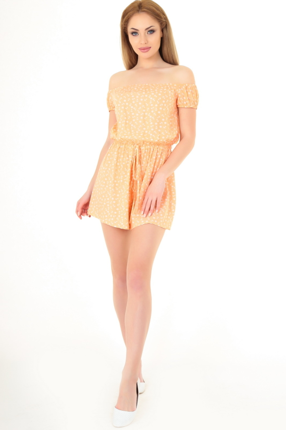 Женский комбинезон с шортами персикового цвета|интернет-магазин vvlen.com