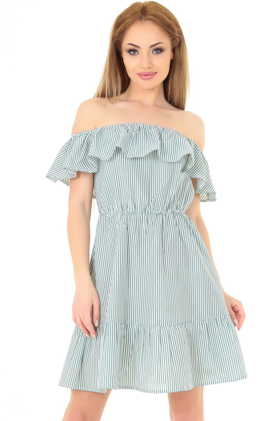 Летнее платье с пышной юбкой зеленой полоски цвета|интернет-магазин vvlen.com