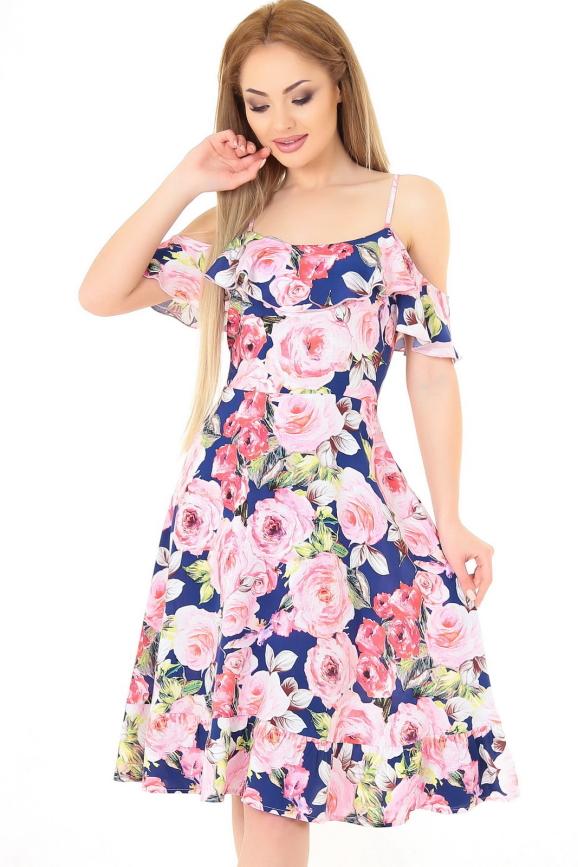 Летнее платье с расклешённой юбкой синего с розовым цвета|интернет-магазин vvlen.com