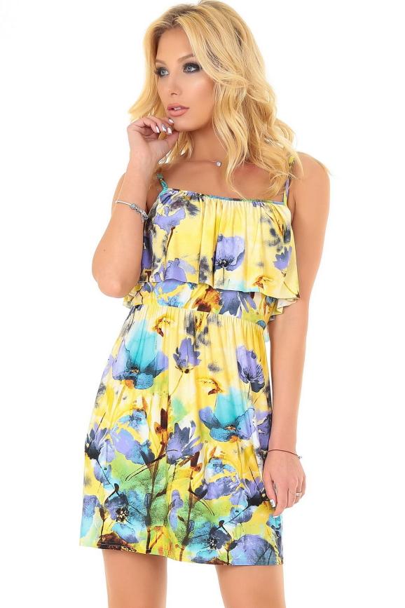 Летнее платье с пышной юбкой желтого с фиолетовым цвета 2568.5|интернет-магазин vvlen.com
