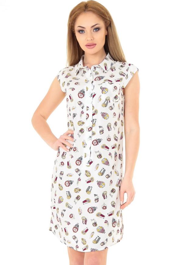 Летнее платье рубашка белого цвета|интернет-магазин vvlen.com