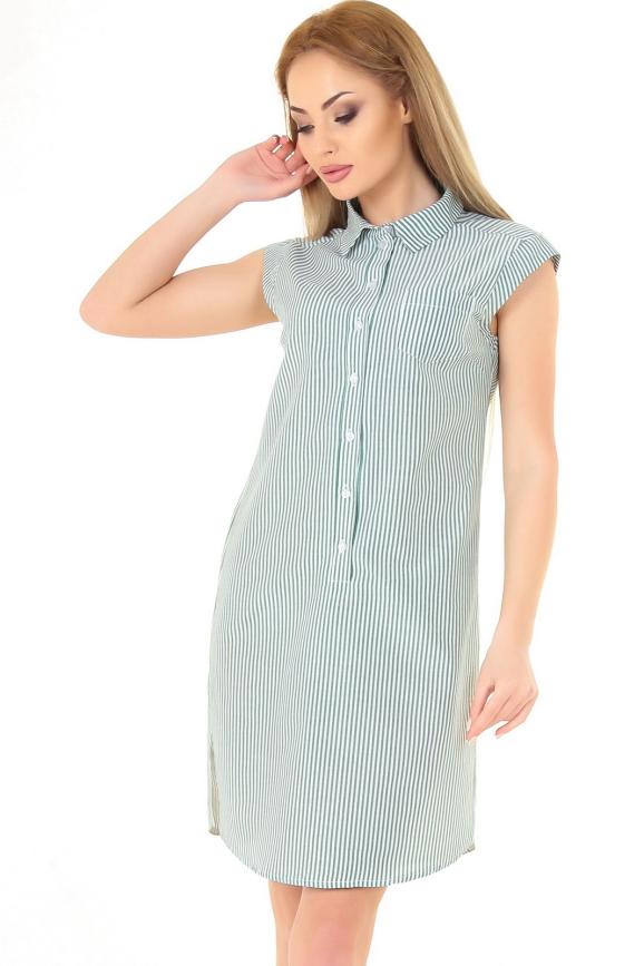 Повседневное платье рубашка зеленой полоски цвета 2368.93|интернет-магазин vvlen.com