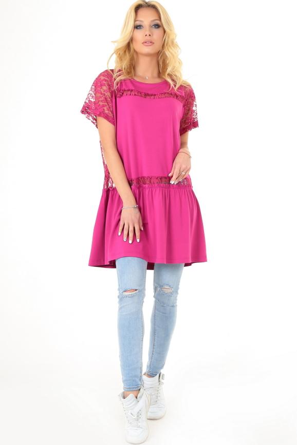 Летнее платье оверсайз малинового цвета 2567.17|интернет-магазин vvlen.com
