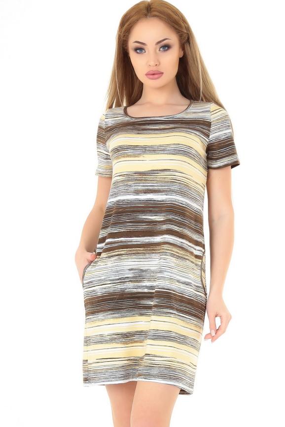 Летнее платье трапеция коричнево-желтого тона цвета 2544.17|интернет-магазин vvlen.com