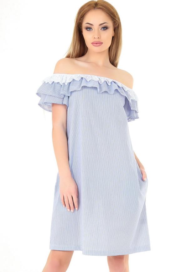 Летнее платье трапеция голубой полоски цвета|интернет-магазин vvlen.com