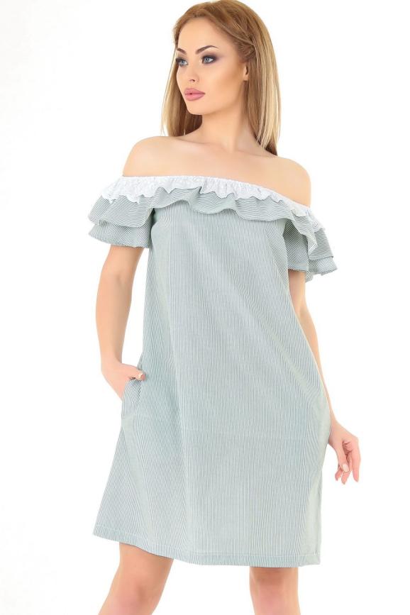 Повседневное платье трапеция зеленой полоски цвета 2563.93|интернет-магазин vvlen.com