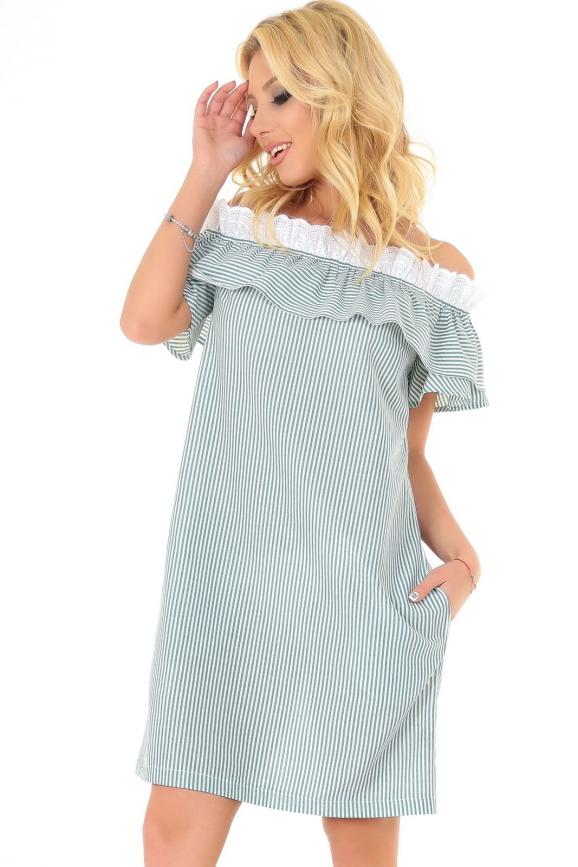 Летнее платье трапеция зеленой полоски цвета 2563-1.93|интернет-магазин vvlen.com